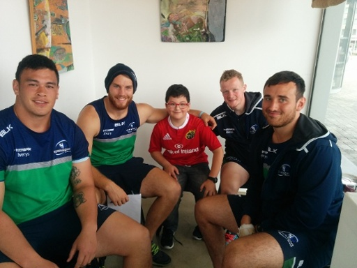 Eoghan Rincon meeting Connacht Rugby players in Atlantic Language School